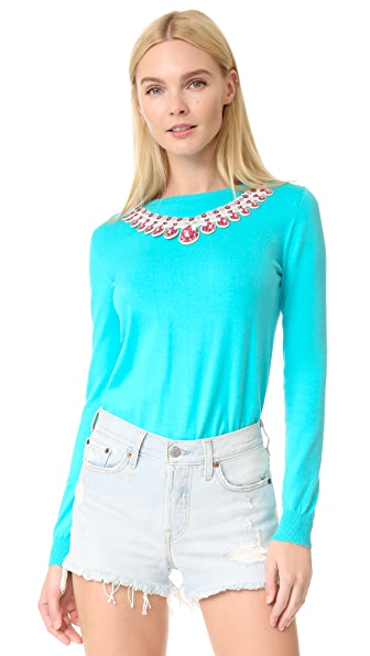 Moschino Necklace Applique Sweater at Shopbop