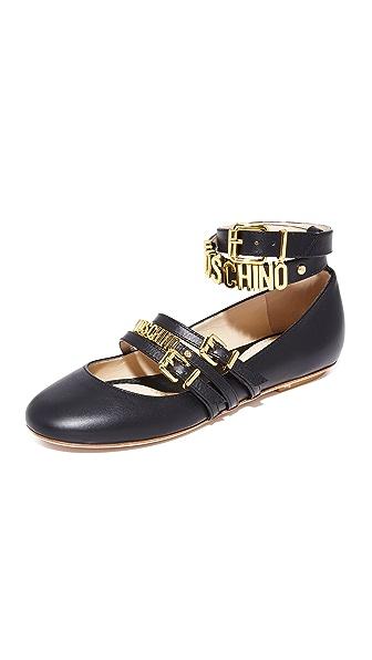 Moschino Ankle Strap Ballerina Flats
