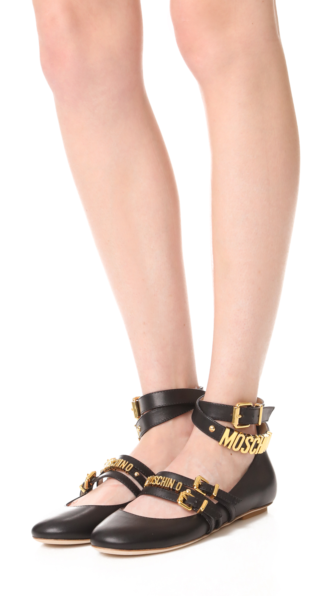 united states top fashion new images of Moschino Ankle Strap Ballerina Flats | SHOPBOP