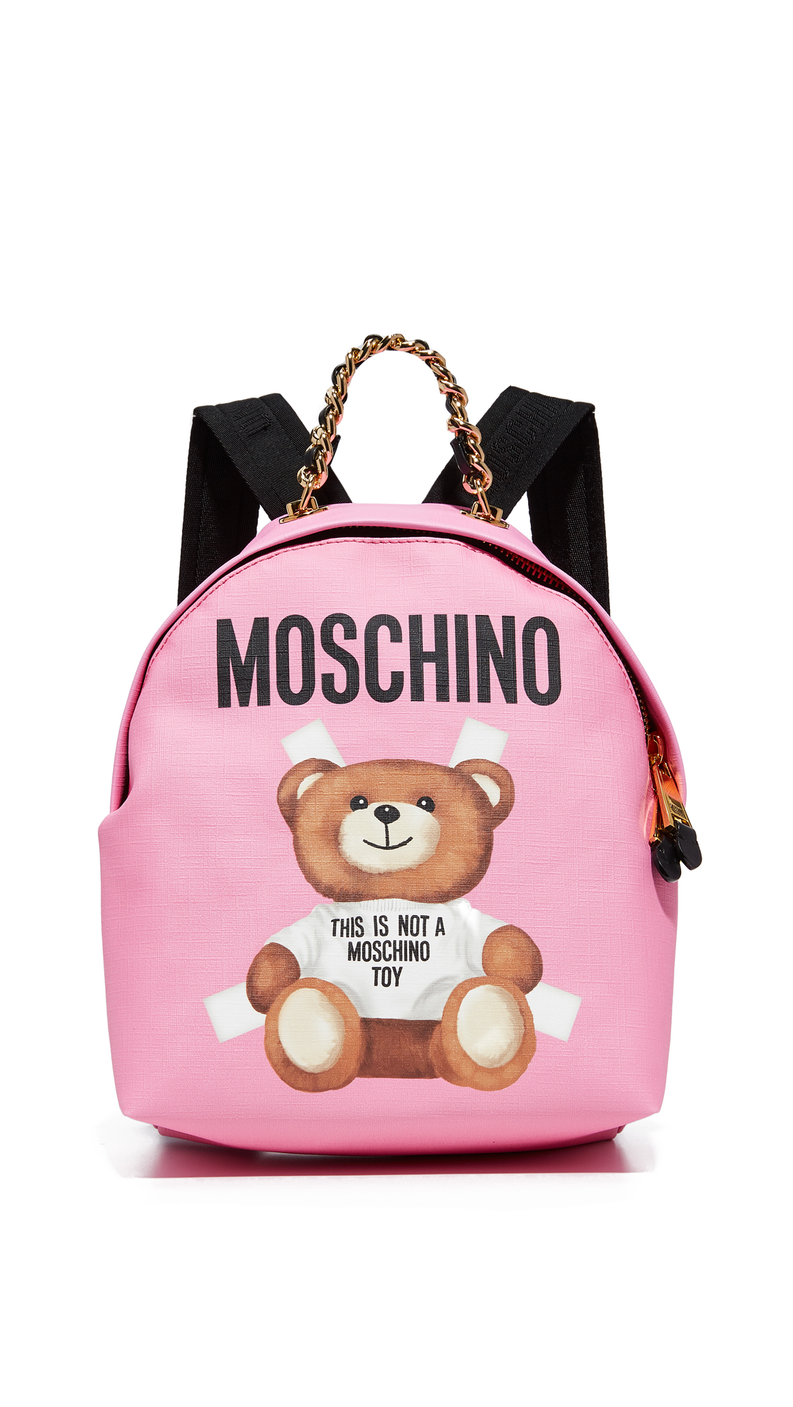 A teddy bear graphic and logo lettering complete the eye catching look of this bright Moschino backpack. The wraparound zip opens to a lined, 3 pocket interior. Chain locker loop and adjustable shoulder straps. Dust bag included.