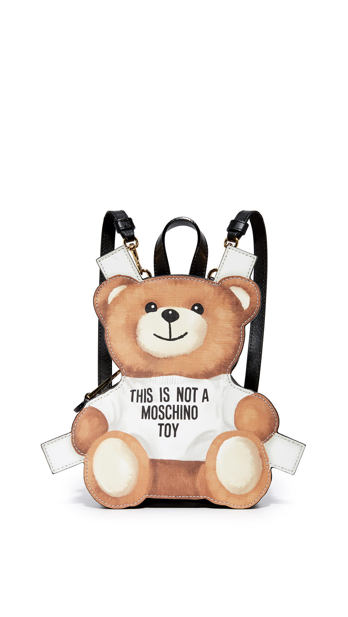 This petite, teddy bear shaped Moschino backpack is crafted in rich saffiano leather. The top zip opens to a lined interior compartment. Locker loop and optional, adjustable shoulder straps. Dust bag included. Fabric: Faux leather. Weight: 16