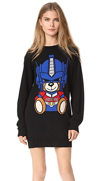 Moschino Transformers Bear Sweater Dress In Black Multi