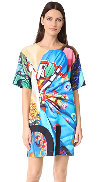 Moschino Mixed Print Dress In Multi