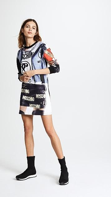 Moschino Long Sleeve Printed Dress