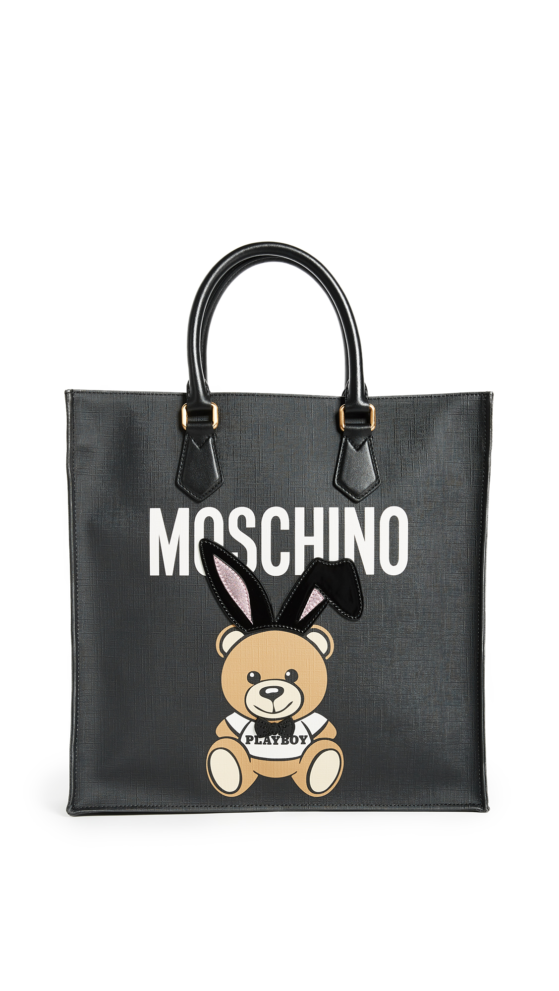 Moschino Bear with Bunny Ears Tote - Black