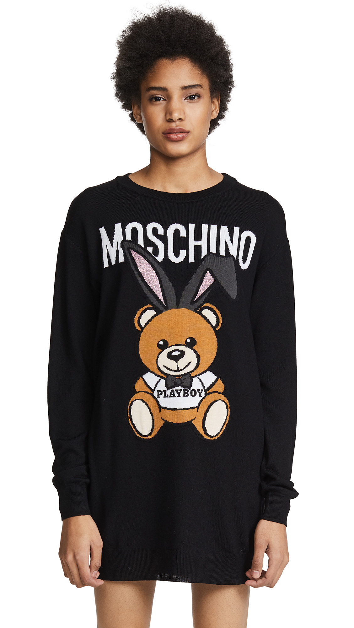 Moschino Logo Sweater Dress - Black