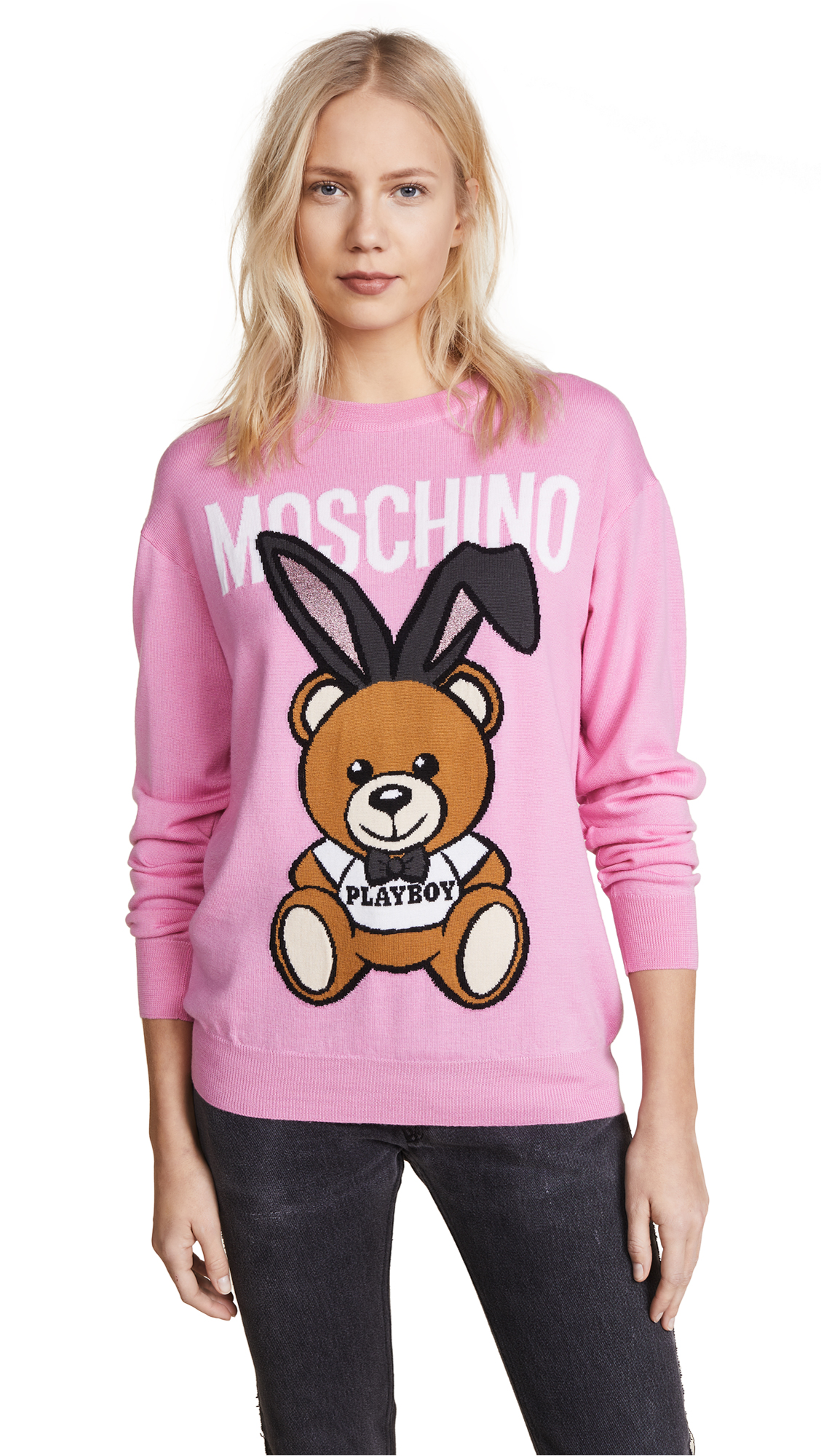 Moschino Bear with Bunny Ears Sweater - Pink