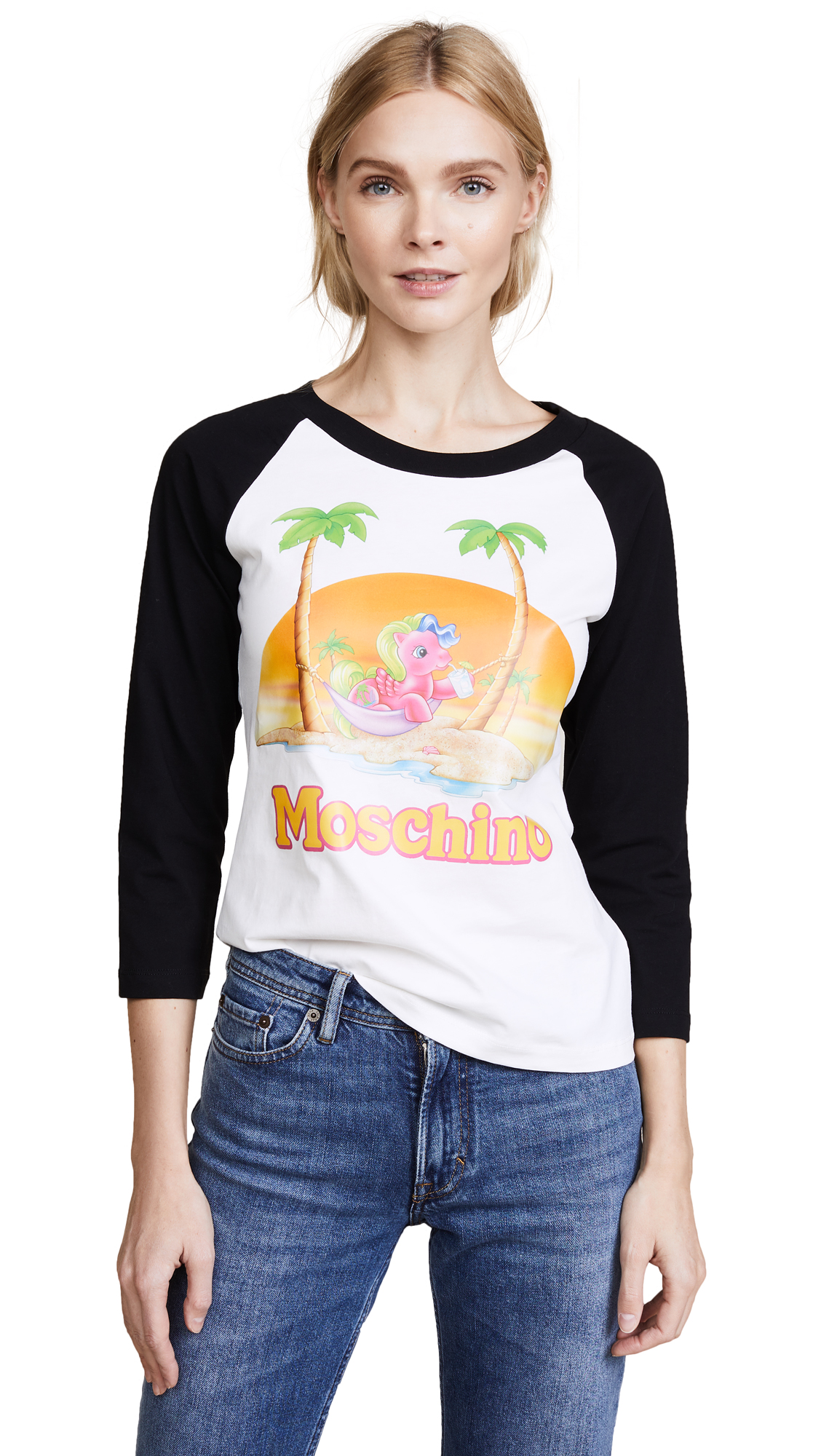 Moschino My Little Pony Beach Baseball Tee - Black/White