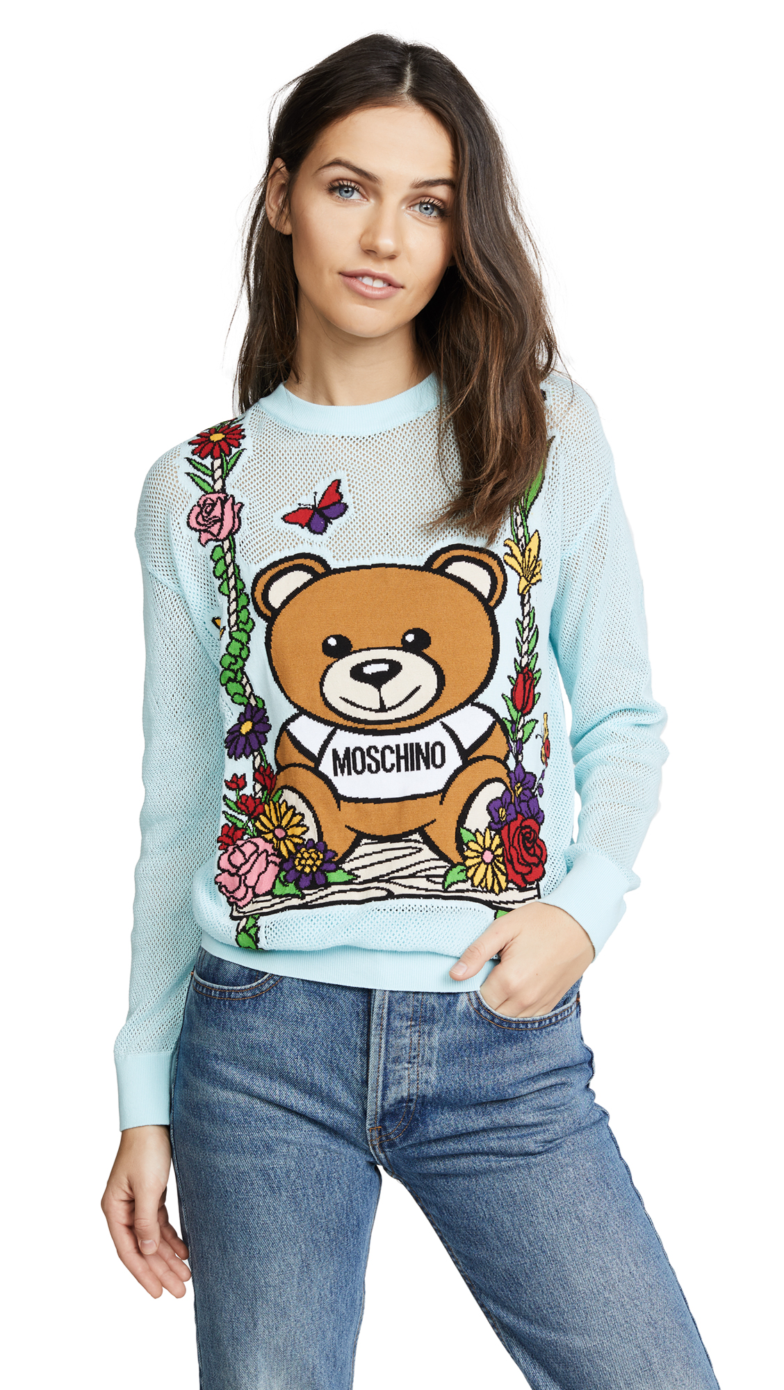Moschino Moschino Bear Swing Sweater - Light Blue