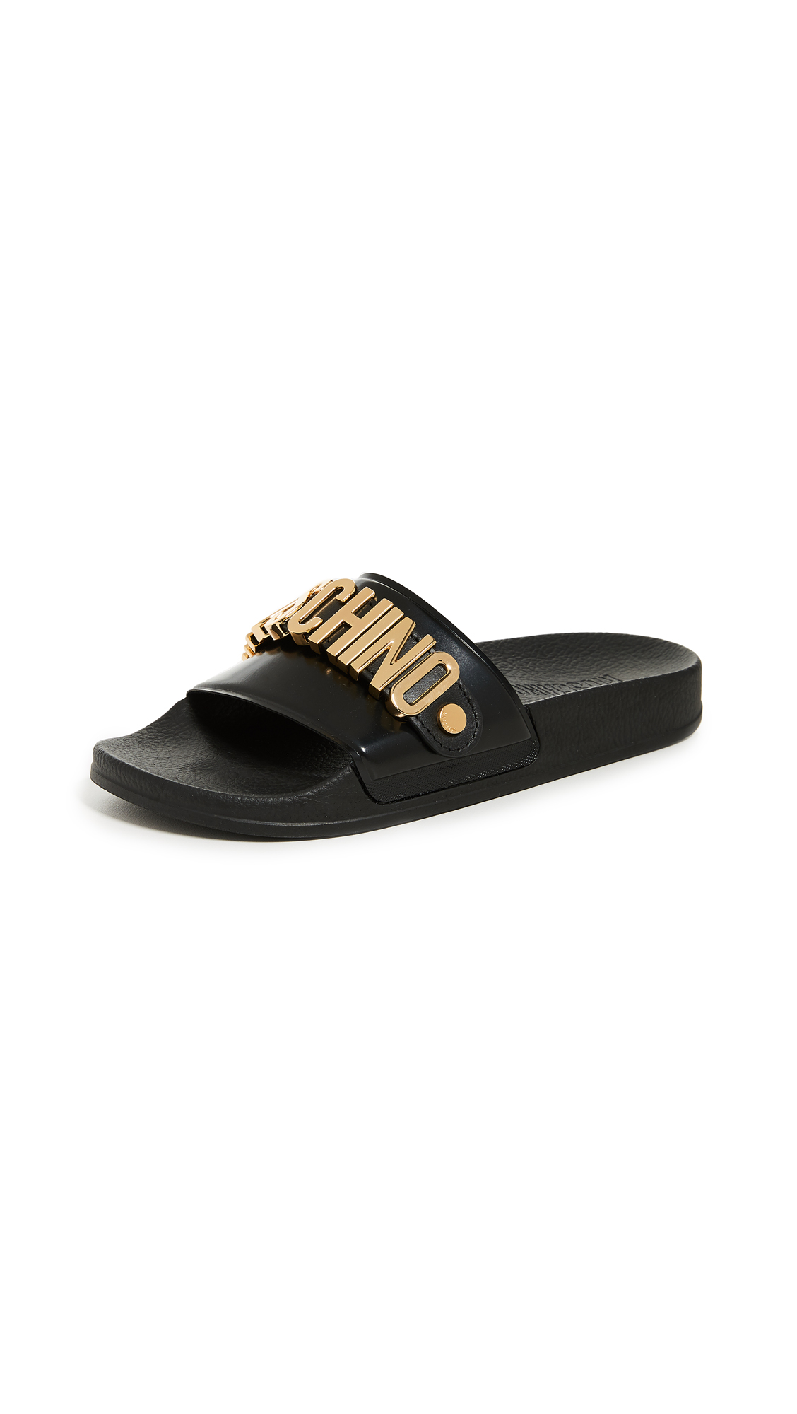 Moschino Moschino Logo Sandals - Black/Gold