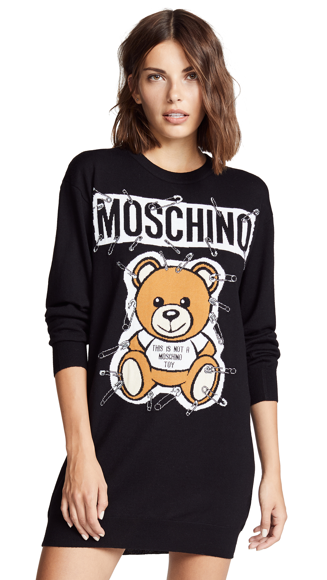 Moschino Bear Tee Dress In Black