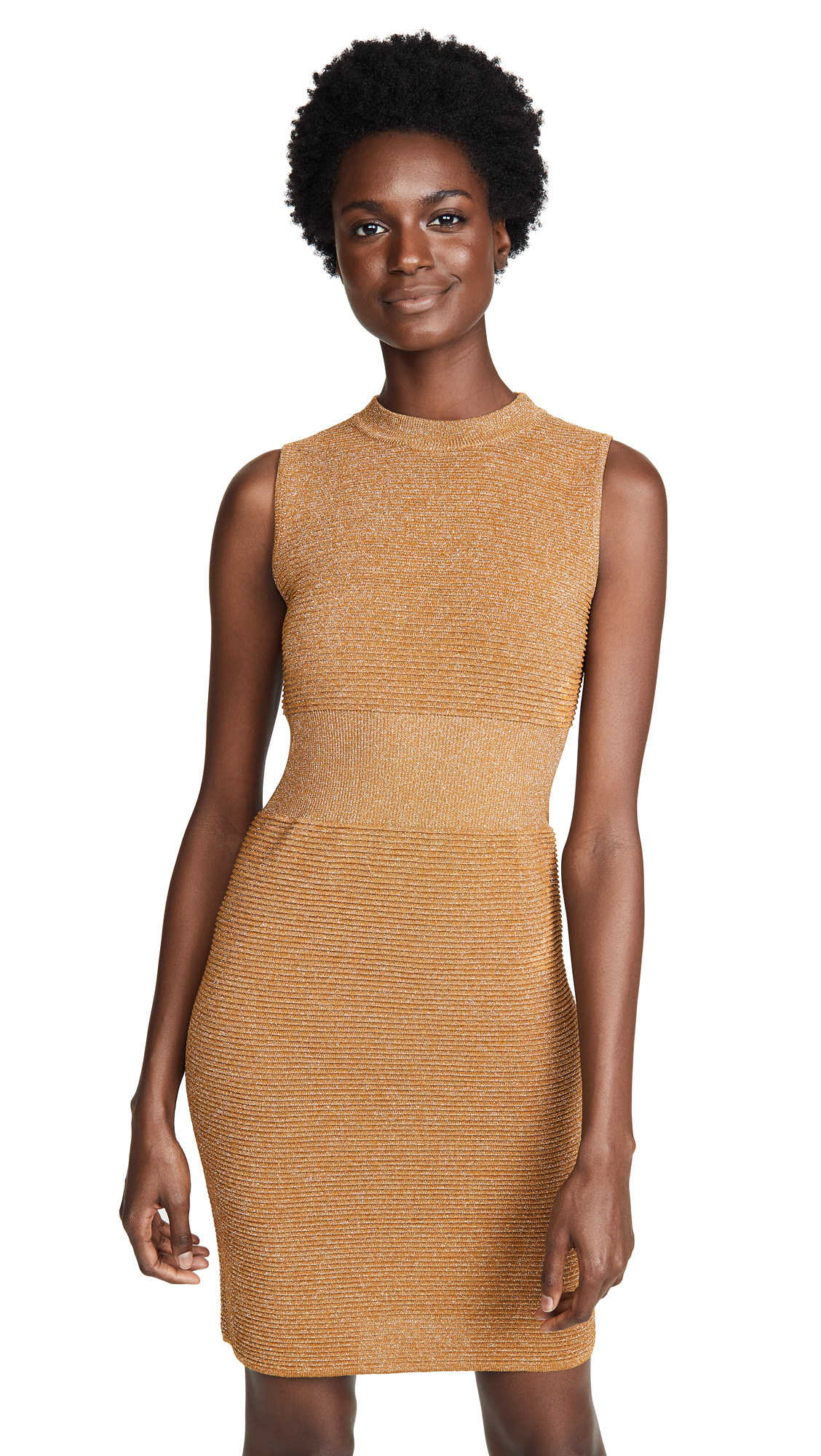 Moschino Bodycon Ribbed Dress In Gold