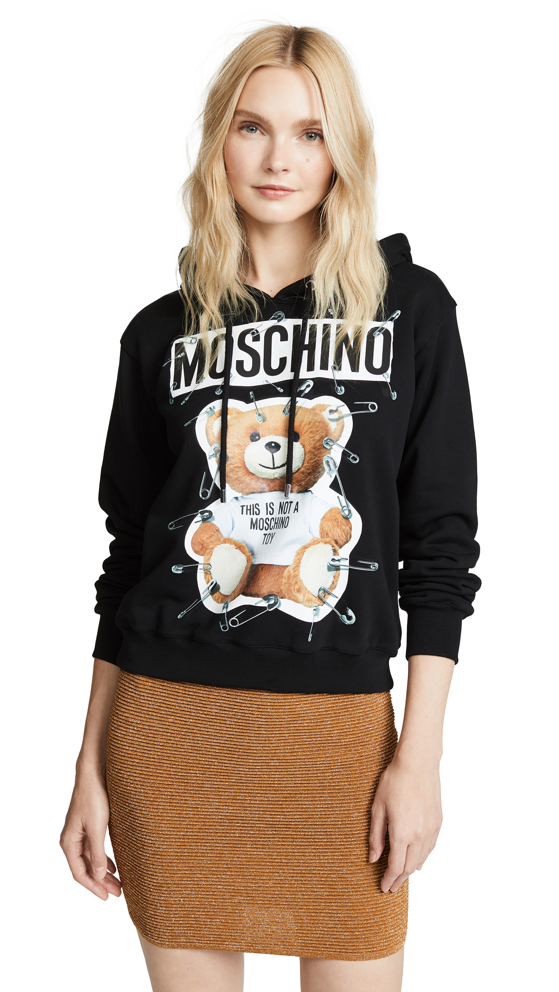 Moschino Cottons SAFETY PIN BEAR HOODIE