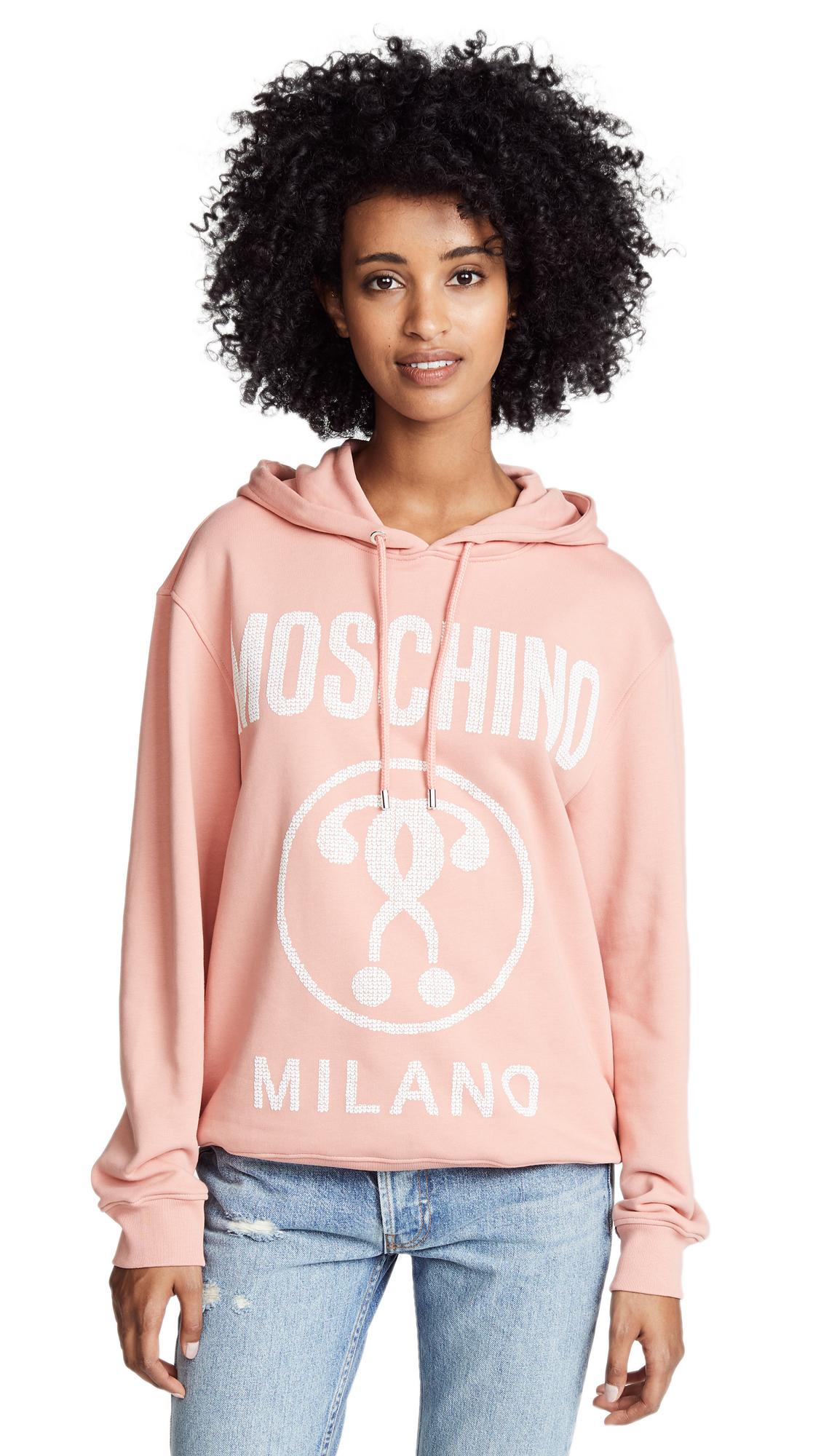 Moschino Logo Hoodie In Peach