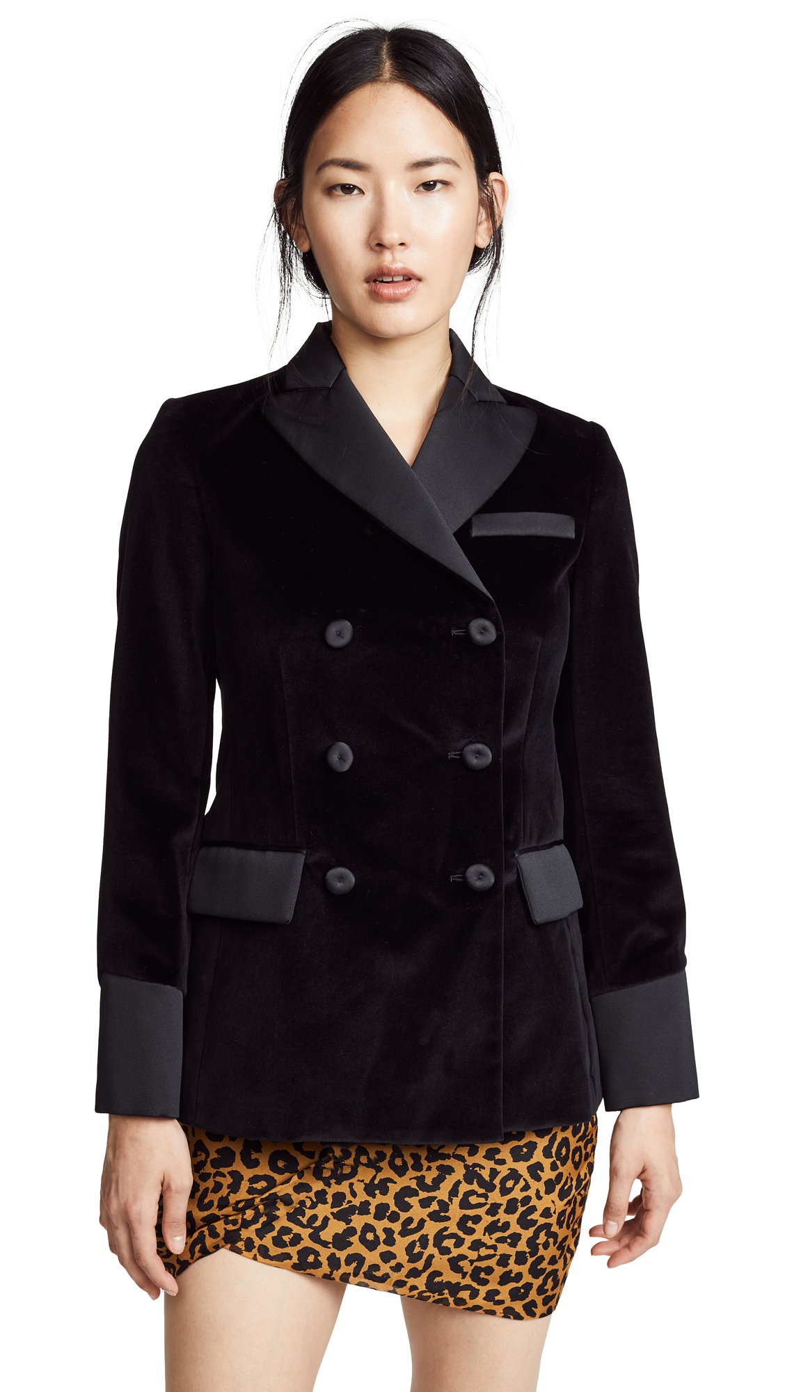 Moschino Velvet Blazer In Black