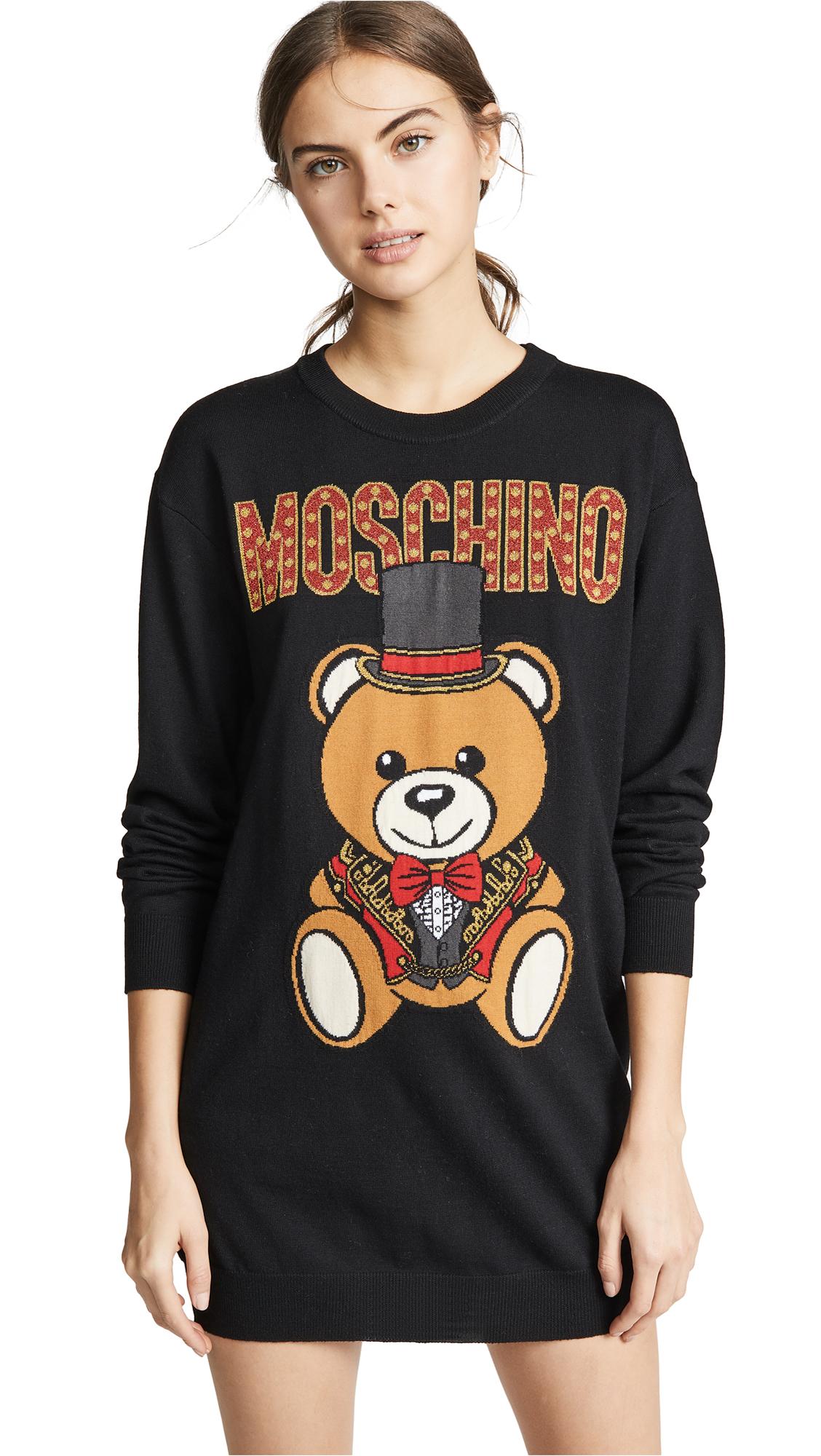 Moschino Top Hat Bear Sweatshirt Dress - Black Multi