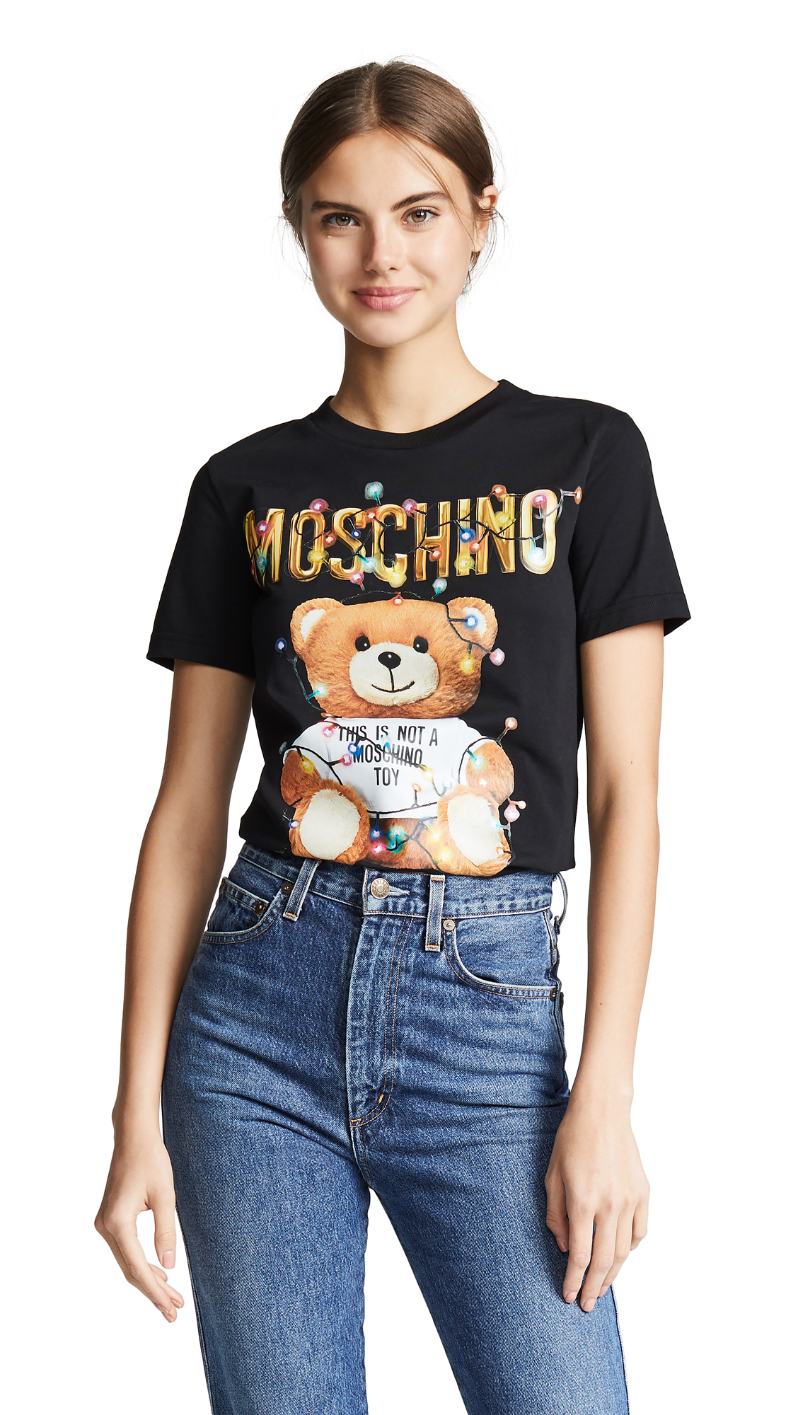 Moschino Christmas Lights Bear T-Shirt - Black