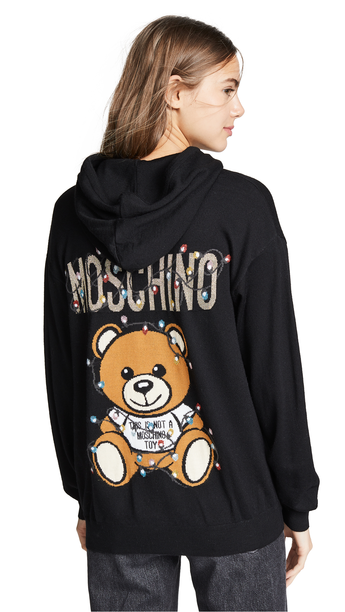Moschino Christmas Lights Knit Zip Hoodie - Black