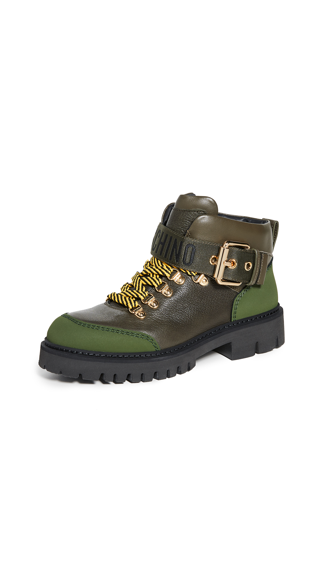 Moschino Combat Ankle Boots In Military Green/Military Green