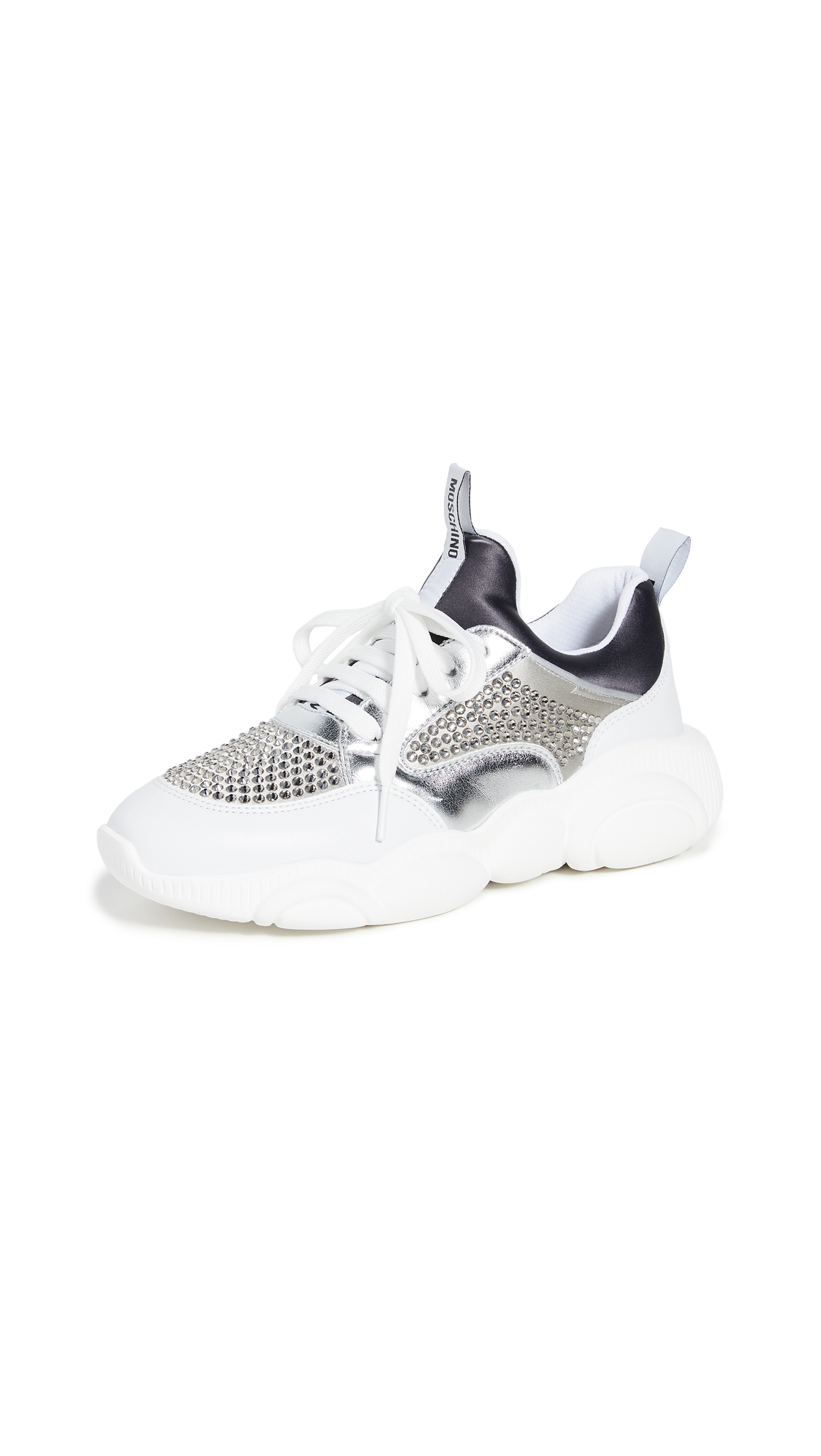 Buy Moschino online - photo of Moschino Stone Embellished Sneakers