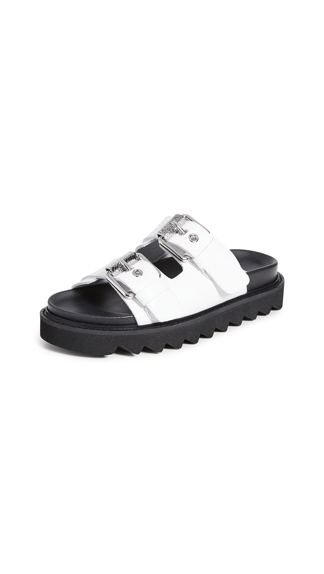 Buy Moschino online - photo of Moschino Slide Double Buckle Sandals