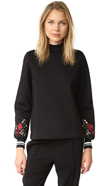Mother of Pearl Cassie Embroidered Sleeve Top - Black