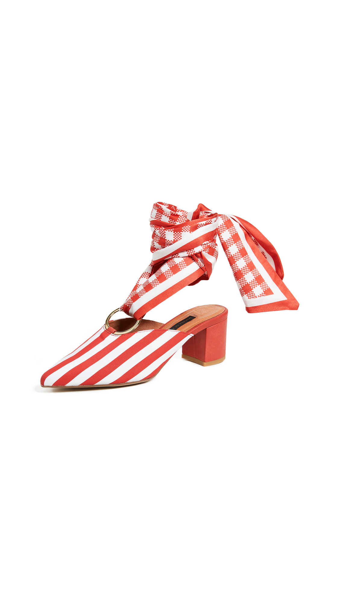 Mother of Pearl Amber Mules - Red/White