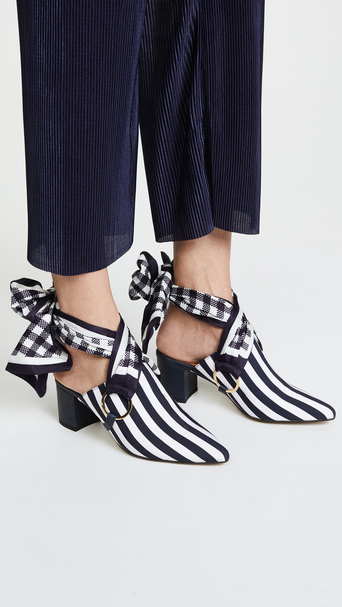 Mother of Pearl COURTNEY - Heeled mules - navy/white QdNjt