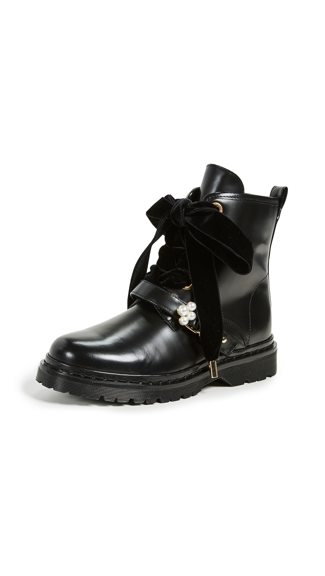 Mother of Pearl Enzo Combat Boots - Black