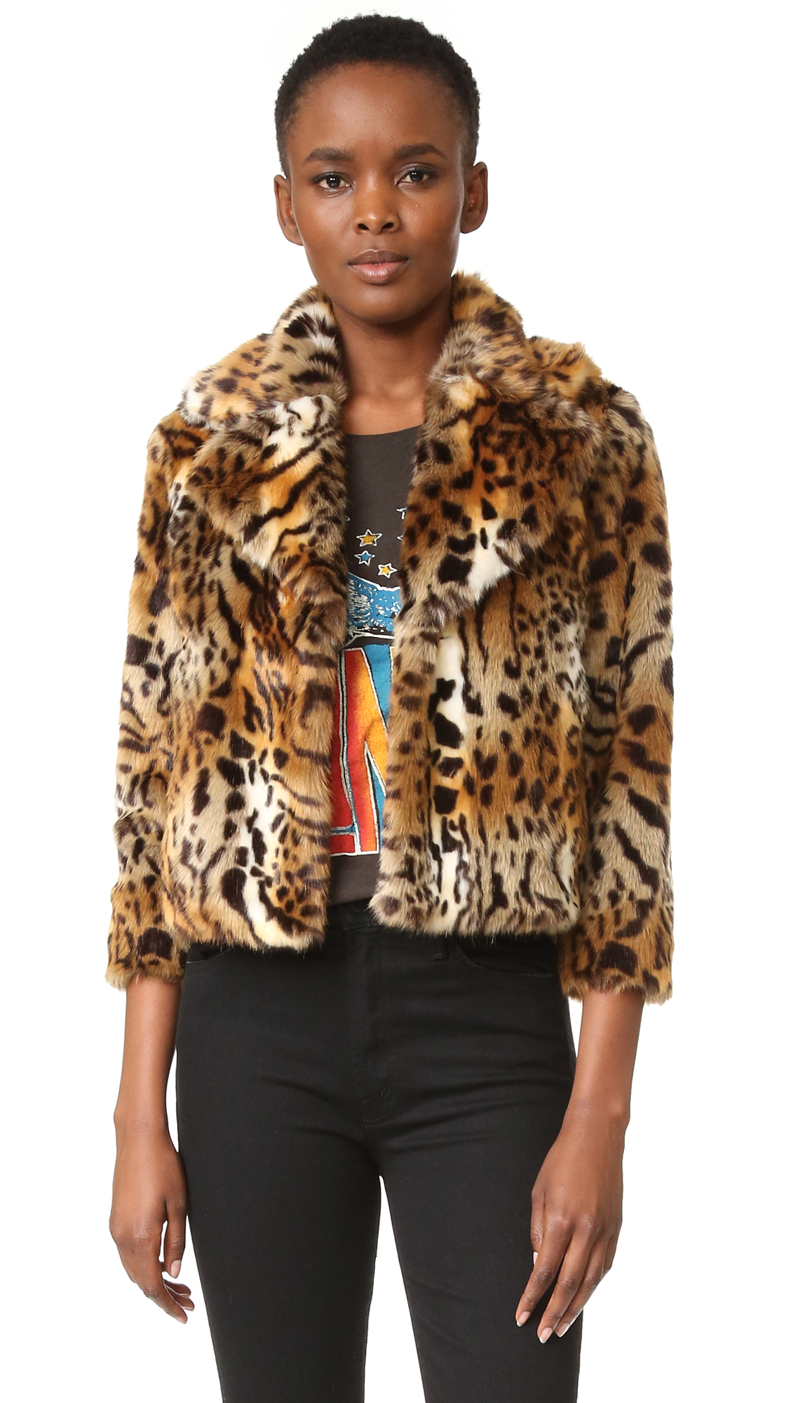 This cropped MOTHER jacket makes a daring statement in leopard print faux fur. Notched collar and hook and eye placket. 3/4 sleeves. Star print lining. Fabric: Faux fur. Shell: 56% acrylic/44% modacrylic. Lining: 100% polyester. Dry clean. Imported, China.
