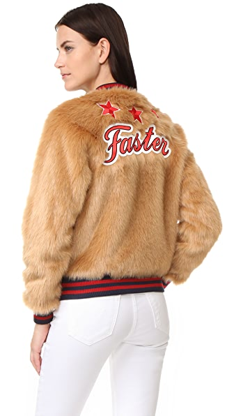 MOTHER The Letterman Patch Faux Fur Jacket - The Fast & The Curious