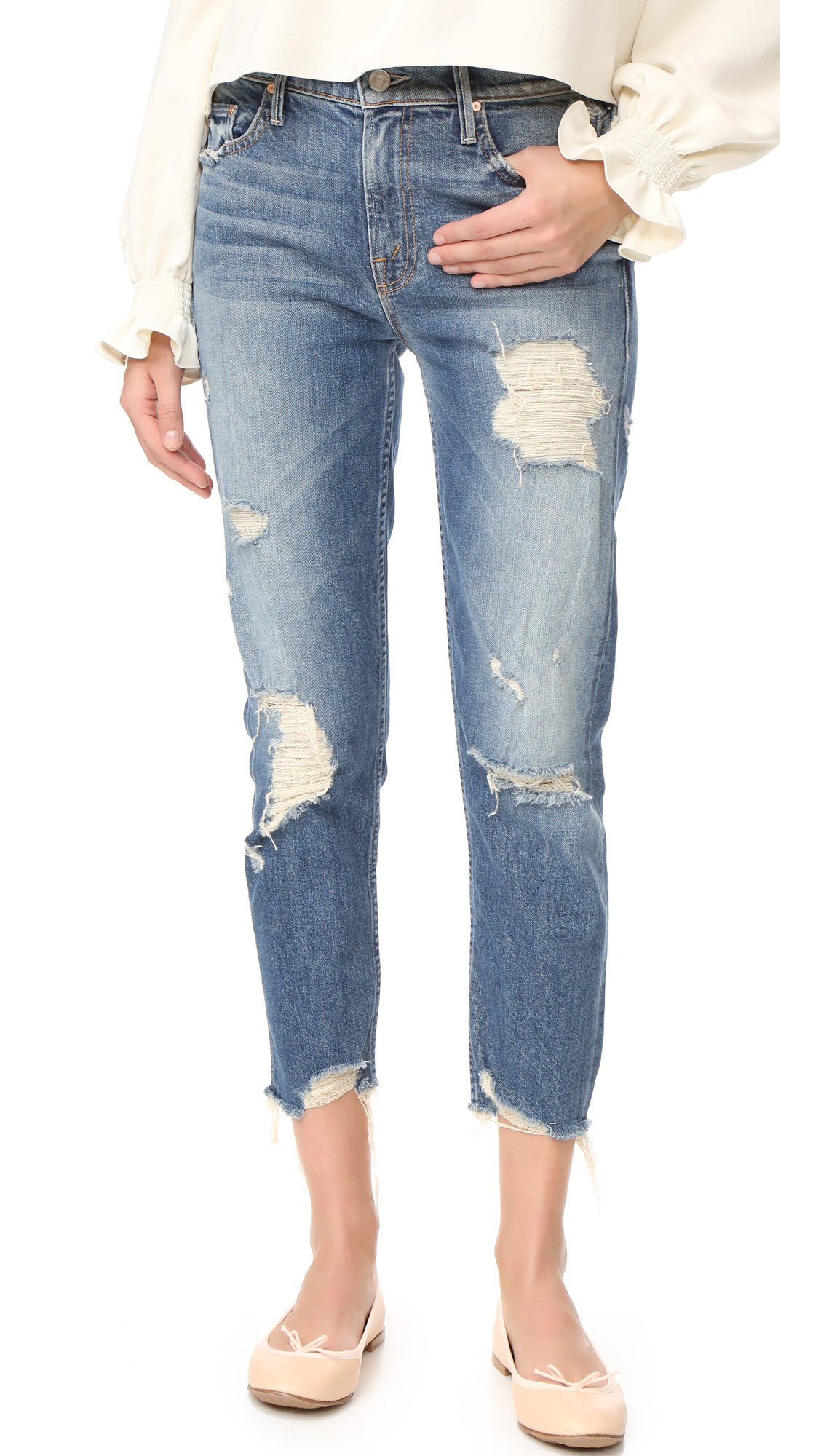 Dramatic distress lends a well traveled quality to these straight leg MOTHER jeans. Frayed cuffs. 5 pocket styling. Single button closure and zip fly. Fabric: Stretch denim. 98% cotton/2% elastane. Wash cold. Made in the USA. Measurements Rise: 10.25