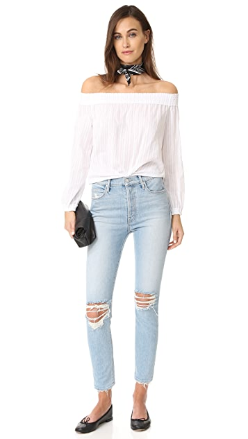 MOTHER MIRANDA + MOTHER The Super Stunner Ankle Jeans