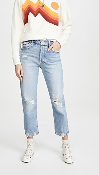 Mother The Tomcat Cropped Distressed High-rise Straight-leg Jeans In Light Denim
