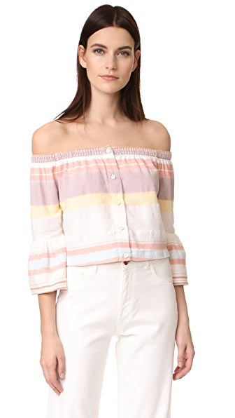 MOTHER Cold Shoulder Belle Top In Sweet Southern Trouble