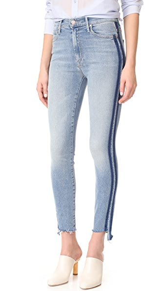 MOTHER The Stunner Zip Ankle Step Fray Jeans - Light Kitty Racer