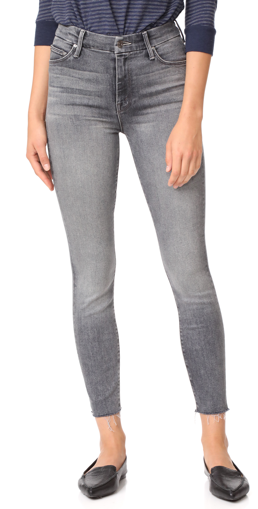 High Waist Looker Ankle Fray Jeans MOTHER