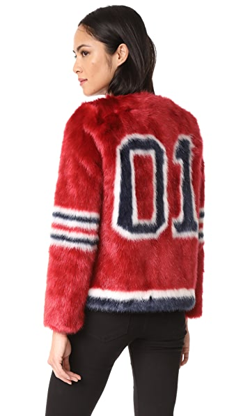 MOTHER Boxy Faux Fur Coat In Red Hot