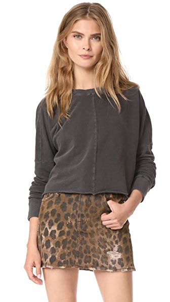 MOTHER The Droopy Crop Fray Sweatshirt - Faded Black