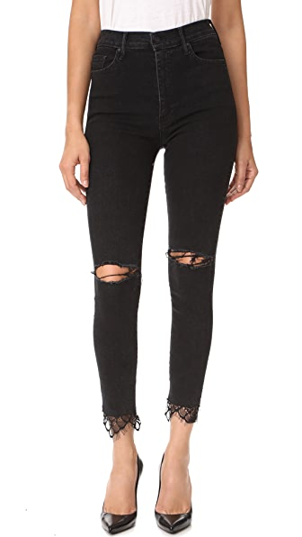 MOTHER The Swooner Dagger Ankle Fray Jeans - Baa Baa Black Sheep