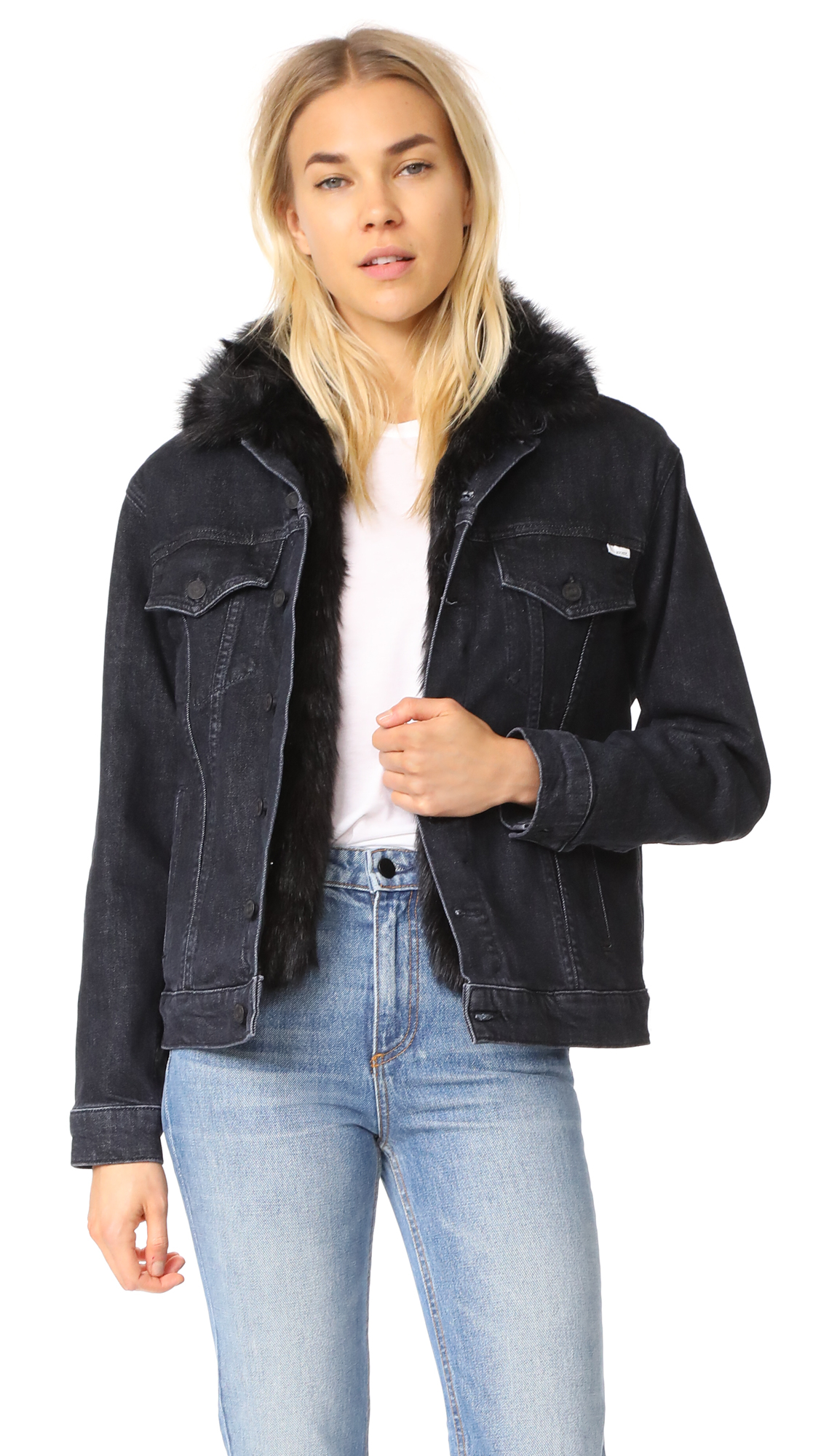MOTHER The Furry Drifter Jacket - Black Cat Fever