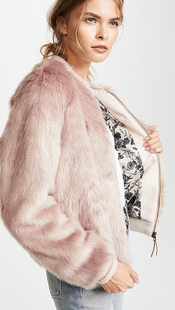 MOTHER The Letterman Faux Fur Jacket