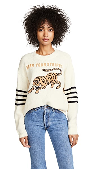 MOTHER Tiger Sweater In Earn Your Stripes
