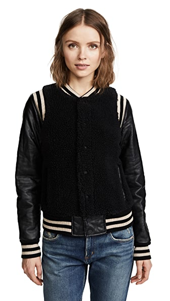MOTHER Snap Letterman Jacket In Black