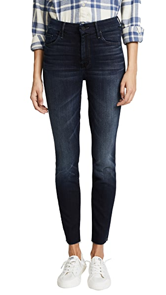 MOTHER HW Looker Ankle Fray Jeans In Night Owl