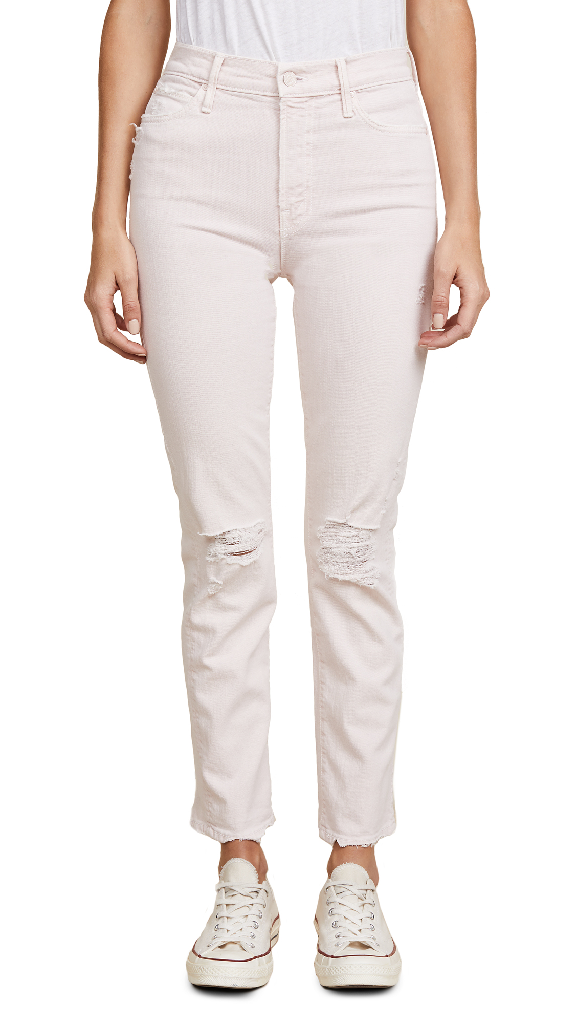 MOTHER High Waisted Rascal Ankle Jeans In Soft Pink