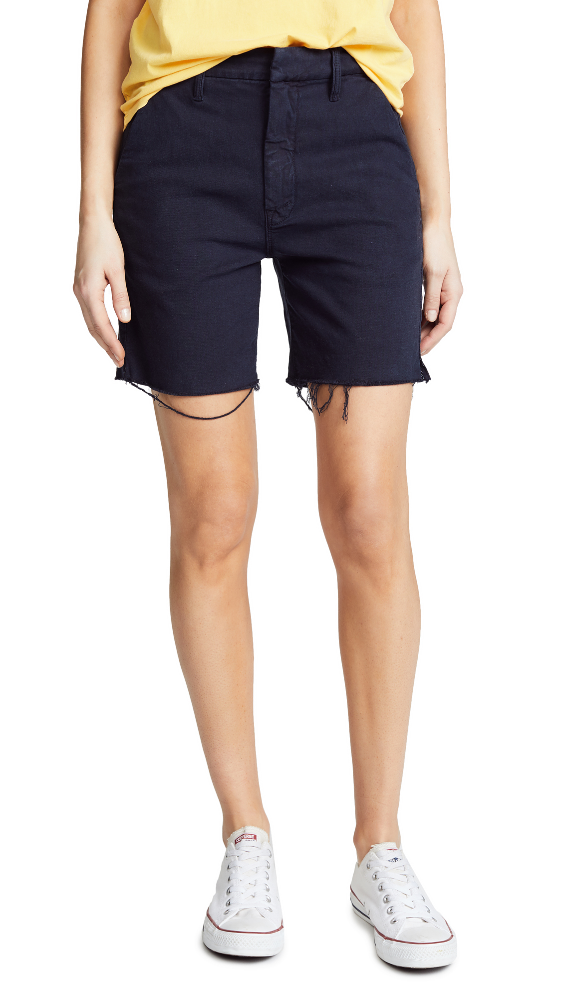 MOTHER The Bermuda Prep Snippet Fray Shorts In Navy