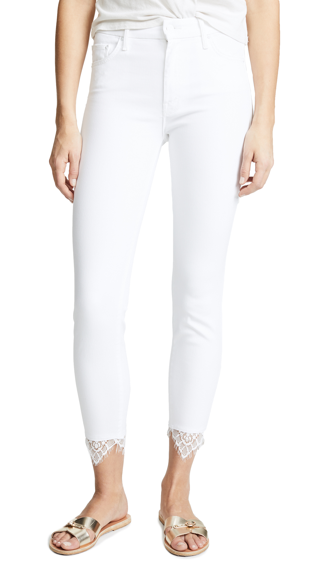 MOTHER The Looker Dagger Jeans with Lace In Glass Slipper
