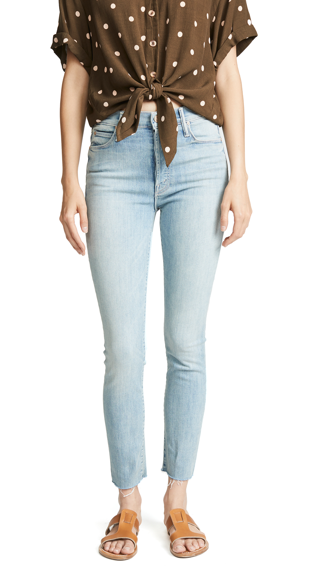 MOTHER The Stunner Ankle Fray Jeans In Tinge