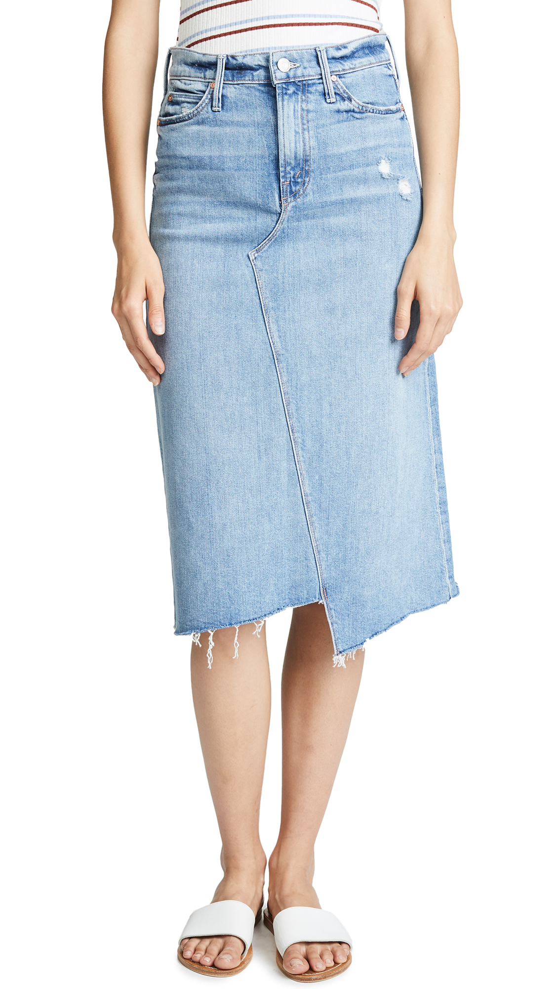 MOTHER The Straight A Step Fray Skirt In Misbeliever
